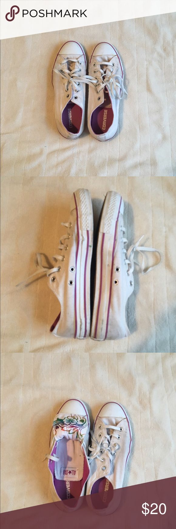 White and Pink Double Flap Converse Size 10 Women White and pink tropical double flap converse, used. Did not go in washer or dryer, hand cleaned Converse Shoes Sneakers