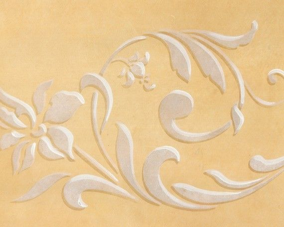 Flowing Flower Stencil Flourish Border for Hand Painted DIY Wall Decor by royaldesignstencils on Etsy