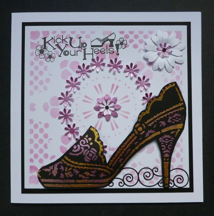 'Kick Up Your Heels' card - Imagination Craft's -  Starburst & Shoe stencils.  Rich gold & Cyclamen Starlight paints.  Magi-bond glue.  Large stencil brush.  Distress ink.  Black ink pad. various sized flower punches  .Memory Box scroll die.  July 2017.  Designed by Jennifer Johnston.