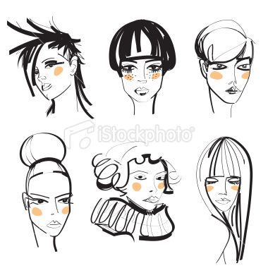 Fashion sketch of women's faces Royalty Free Stock Vector Art Illustration