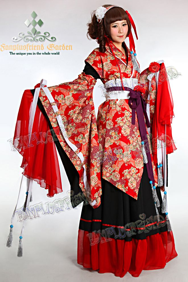 Wa Lolita Fete Hime Kimono. $215.60 Long skirted lolita costume with both
