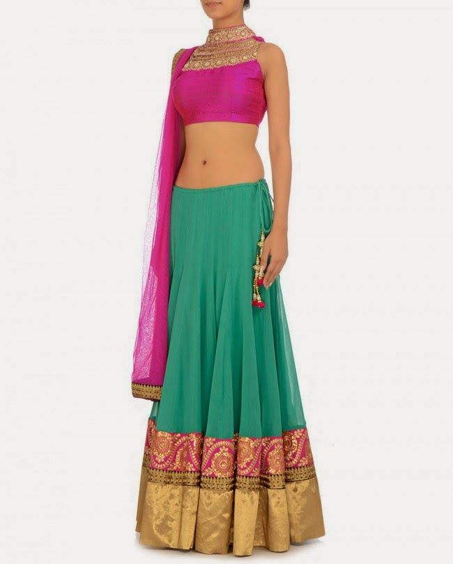 Ginni Singh 2014 Collection Kelly Green #Lehenga With Fuschia Pink #Blouse & Dupatta.