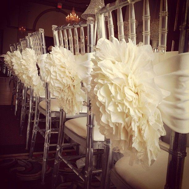 So pretty. Flower chair covers