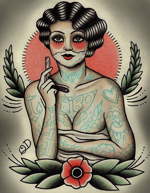 The+Shaving+Flapper+Tattoo+Art+Print+by+ParlorTattooPrints+on+Etsy,+$26.00