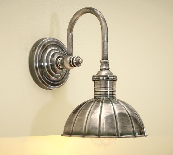 Vintage Single Sconce | Pottery Barn Down the stairs, over the art work in the hall or possibly in the office over the book shelves