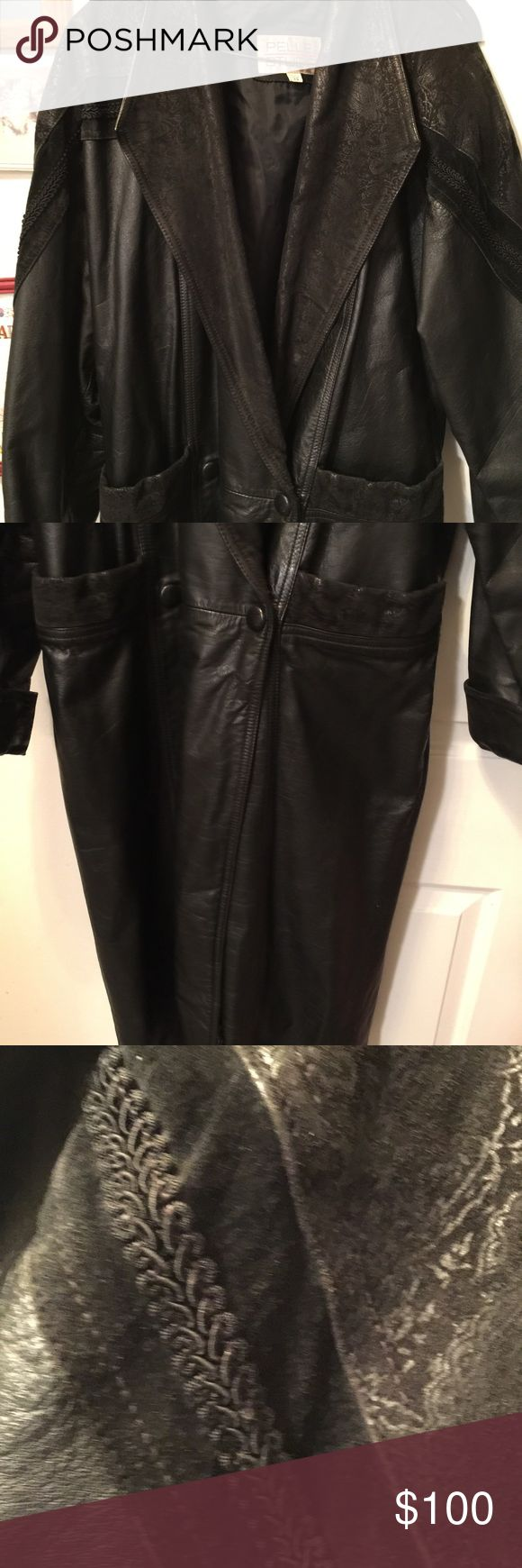 Women's leather coat Beautiful full length black leather coat with suede & braided design, see picture, gently used, size XS Pelle Studio Jackets & Coats