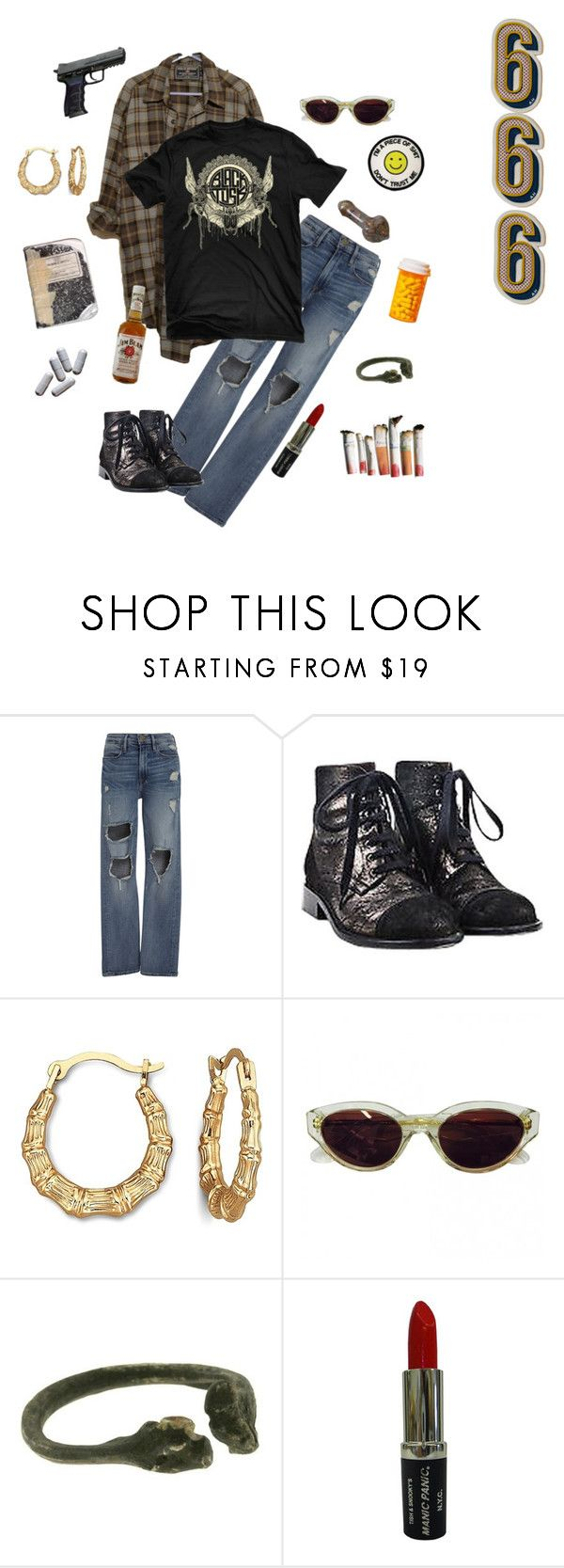 """Good Times and Mutilation"" by vulture95 ❤ liked on Polyvore featuring Frame, Chanel, RetroSuperFuture, Lady Grey, Jim Beam, Manic Panic NYC, Anya Hindmarch and bandtees"