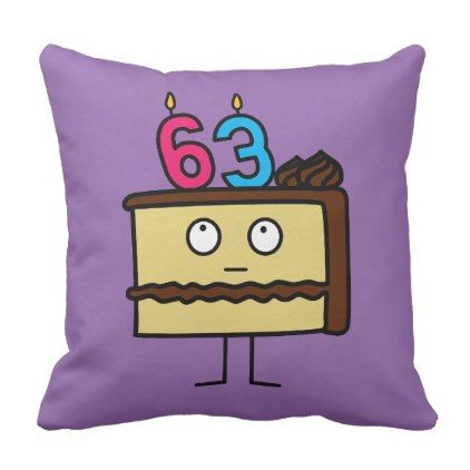 #63rd Birthday Cake with Candles Throw Pillow - #birthday #gift #present #giftidea #idea #gifts
