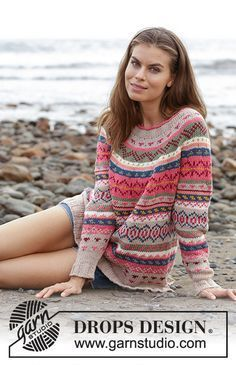 Magic Mountain / DROPS 187-8 – Sweater with round yoke and multicolored Norwegian pattern, knitted from top to bottom. Size S – XXXL. The work is knitted in DROPS Paris.