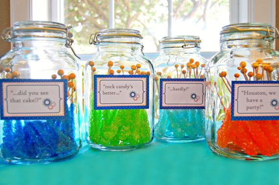 Rock candy for astronaut party