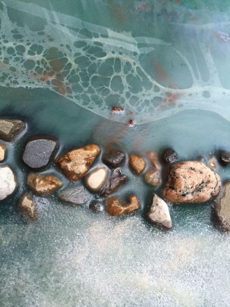 Encaustic painting shellac burn. Artist Pam Schneider