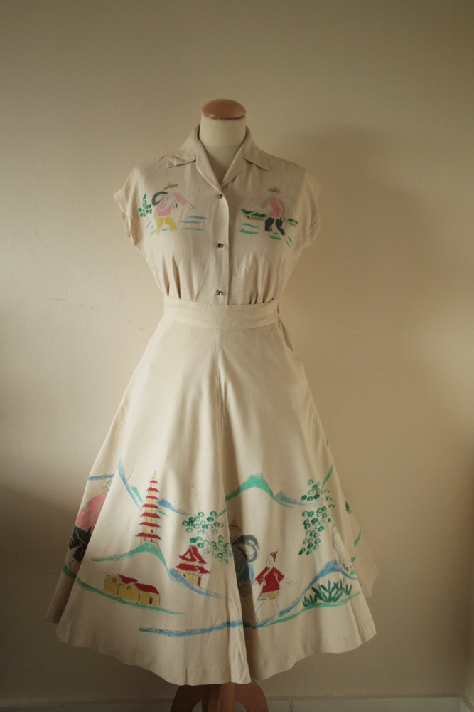 Hand paint design in dress style