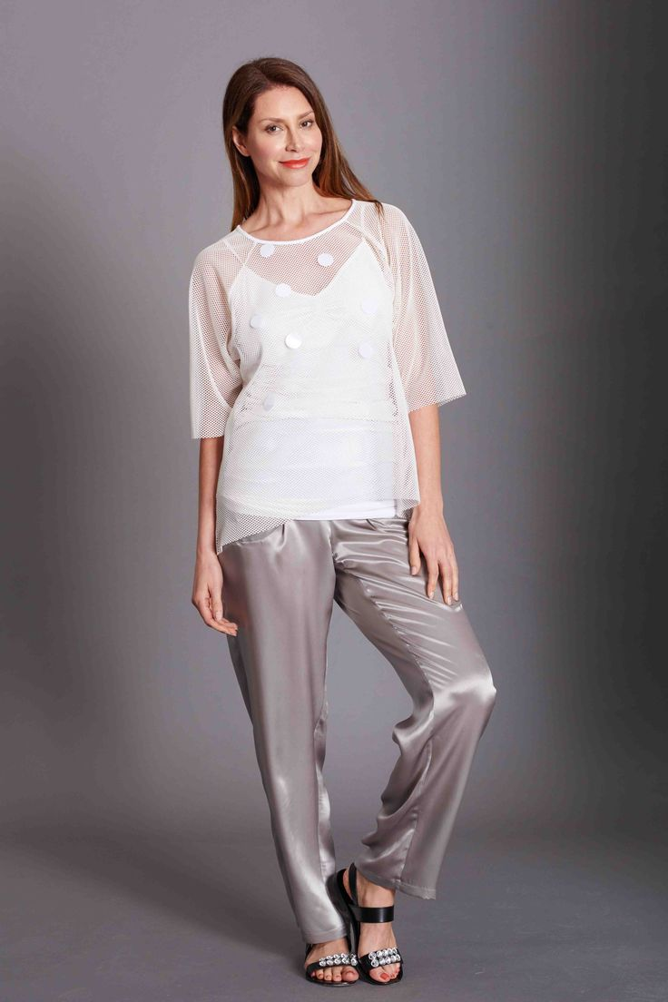 Silk relaxed pant, mesh top in ivory. Travel Essentials. Summer Essentials. Totally elegant look for all occasions. www.bazinc.com.au