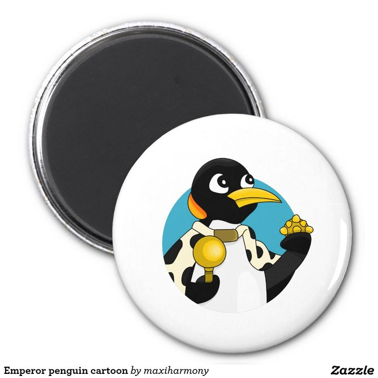 Emperor penguin cartoon 2 inch round magnet