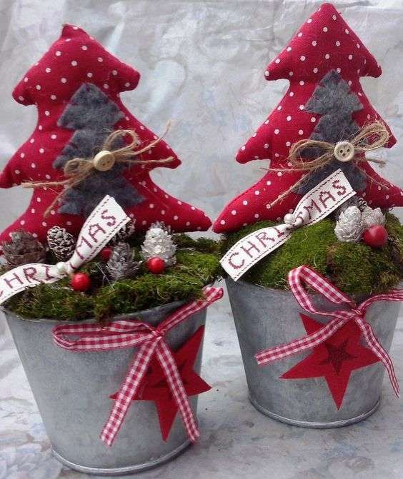 Alberi natalizi in vaso - Alberi di Natale in stoffa come idea regalo per amici e parenti.