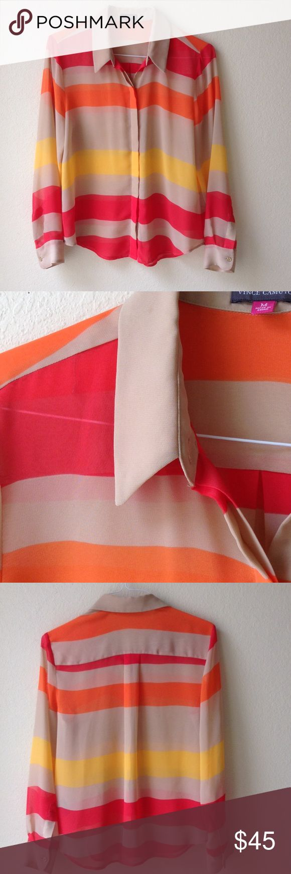 Vince Camuto sheer striped blouse with beige cami Striped sheer shirt with cami. Hidden buttons really cute!!! Pinks orange yellow Vince Camuto Tops Blouses