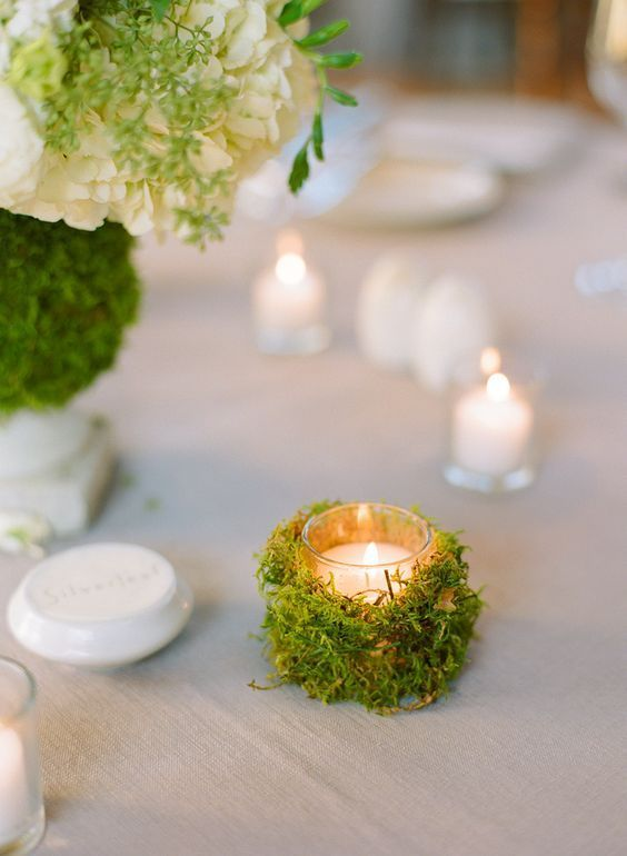 Moss Covered Votive candle wedding centerpiece / http://www.deerpearlflowers.com/wedding-ideas-using-candles/3/