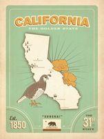 Америка Калифорния Голден Стэйт Путешествия Плакат Классический Ретро Винтаж…