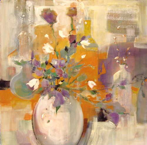 White Vase, Purple Flowers