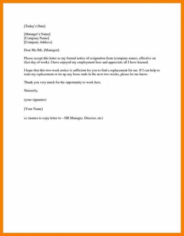 Two Weeks Notice Sample  template in 2019  Resignation letter Formal resignation letter