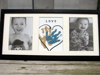 DIY handprint & tissue paper photo wall art ~ grandma would like theses too