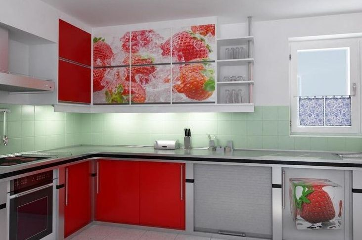 Strawberry Kitchen Decoration With Printed Kitchen Cabinets
