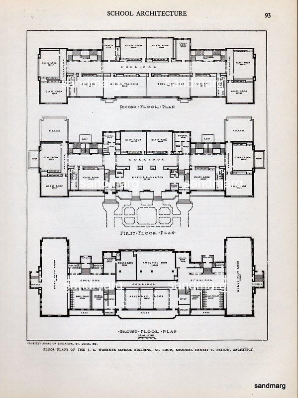 1935 Architectural Print Woerner School Building St Louis Missouri.Kindergarten Schools