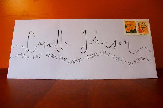 Handwritten Wedding Invitation Envelopes: Handwritten Wedding Invitation Envelopes Wavy By