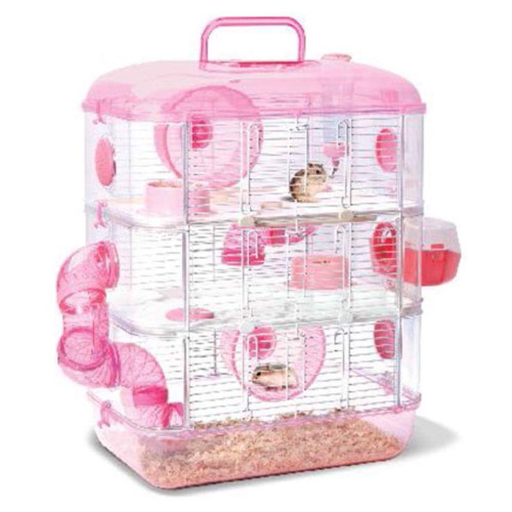 Jolly 3 Storey Crystal Hamster Cage In Pink Www Nekojam
