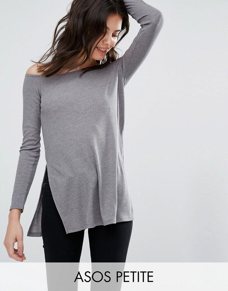 Buy it now. ASOS PETITE Off Shoulder Slouchy Top with Side Splits - Grey. Petite top by ASOS PETITE, Ribbed knit, Off-shoulder neckline, Side splits, Relaxed fit, Machine wash, 50% Polyester, 50% Viscose, Our model wears a UK 8/EU 36/US 4. ABOUT ASOS PETITE 5�3�/1.60m and under? The London-based design team behind ASOS PETITE take all your fashion faves and cut them down to size. Say goodbye to all your short-girl problems with our perfectly proportioned denim, day-to-night dresses and ev...