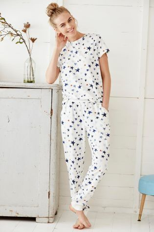 Buy Cream/Blue Short Sleeve Printed Pyjamas from the Next UK online shop