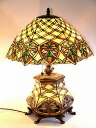 tiffany style stained cut glass gold green table lamp victorian ebay