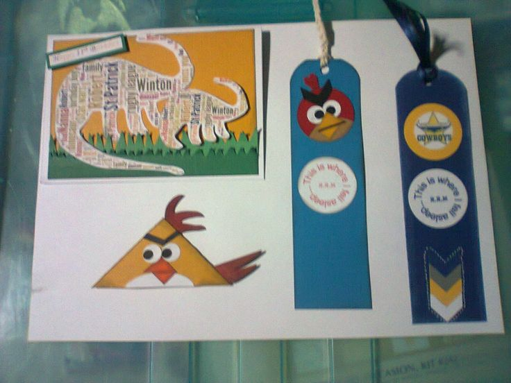 Bookmarks & card made for my youngest grandson