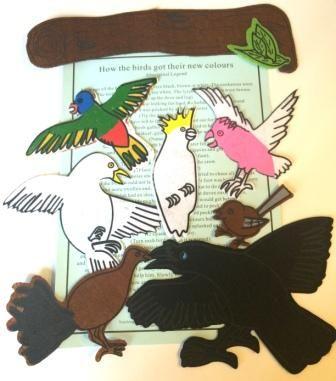 From our 100 Stories booklist-How The Birds Got Their Colours - Australian Aboriginal Felt Story