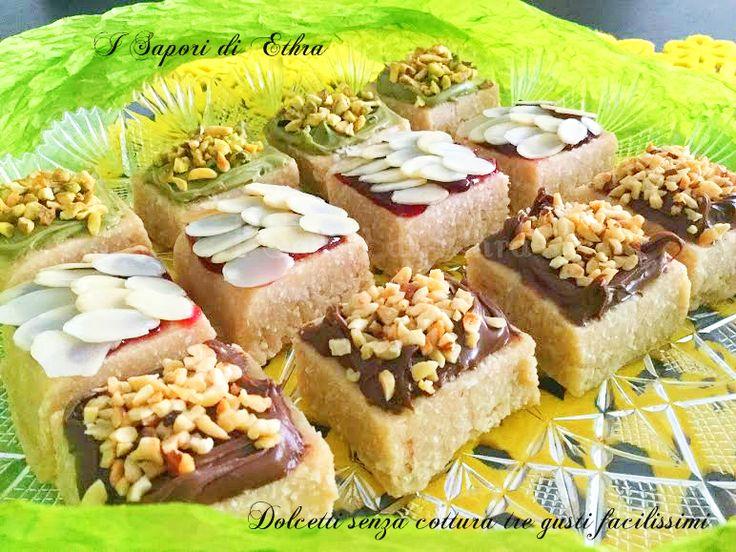 Oggi una ricetta facilissima e golosissima..dei favolosi dolcetti senza cottura tre gusti facilissimi..Dolci preparati per dei cari amici...Ve li consiglio