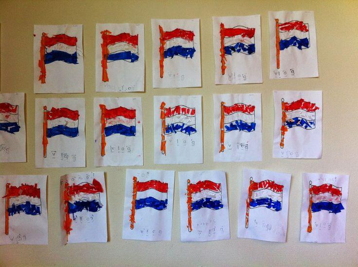 Vlag beplakken en stempelen