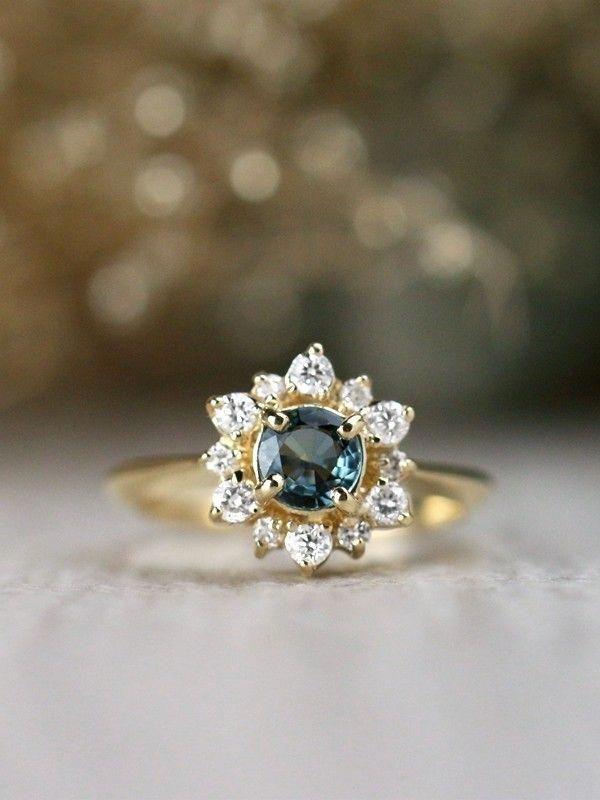 Blue Green Sapphire Diamond Celestial Solid 14 Karat Gold Engagement