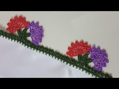 Tığ Oyası Yapımı Yan Yana iki Çiçek - YouTube