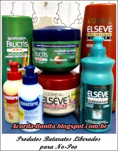 Produtos Baratos para No Poo e Low Poo  http://www.acordabonita.com/2012/08/produtos-baratos-para-no-poo-e-low-poo-testando-dicas-para-cabelos-cacheados/