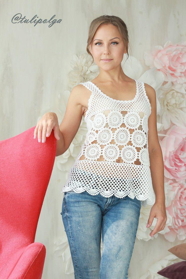 белый топ вязаный крючком из мотивов Crochet Top Crochet