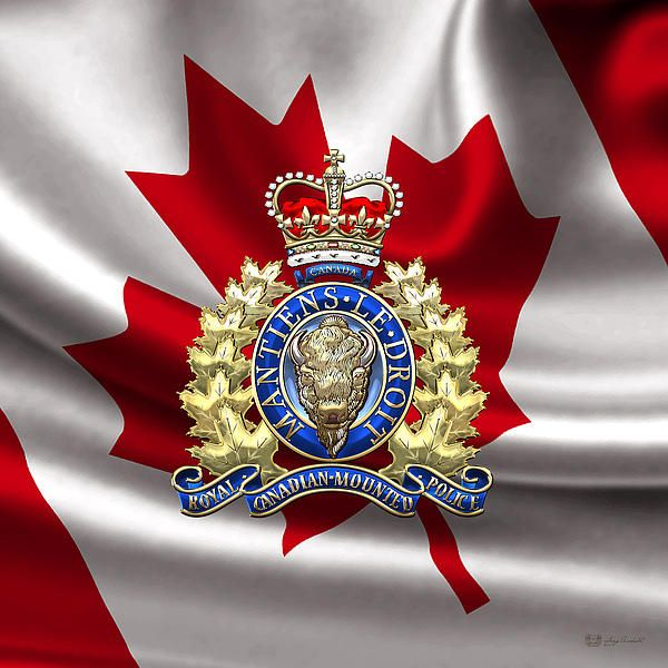 Royal Canadian Mounted Police - RCMP Badge Over Waving Flag by C.7 Design Studio (Military Insignia 3D) on FineArt America.