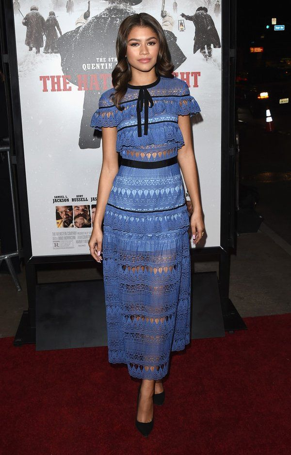 Zendaya wore a #SelfPortrait Spring 2016 blue lace tiered dress to the #HatefulEight LA premiere.