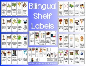 This is a bilingual version of my other set of shelf labels (http://www.teacherspayteachers.com/Product/Dewey-Shelf-Labels-668926). The only difference is there are more pages in this one because each label is longer to accommodate the extra Spanish text.