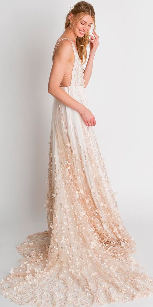 30 Beautiful Wedding Dresses By Top USA Designers ❤ beautiful wedding dresses best ombre straight sleeveless with straps alexandra grecco ❤ See more: http://www.weddingforward.com/beautiful-wedding-dresses/ #weddingforward #wedding #bride