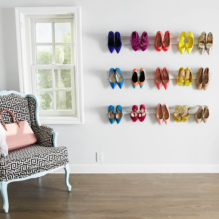 DIY Wall Mounted Shoe Rack in 6 Steps! Easy and fun way to show off a high heel collection.