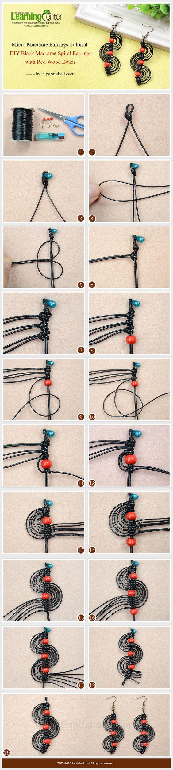 Micro Macrame Earrings Tutorial-DIY Black Macrame Spiral Earrings with Red Wood Beads: