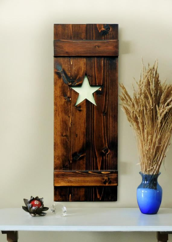 Interior Window Shutters Pair Of Window Shutters Star Shutters Many Colors Wood Shutters Stained Doors Rustic Shutters
