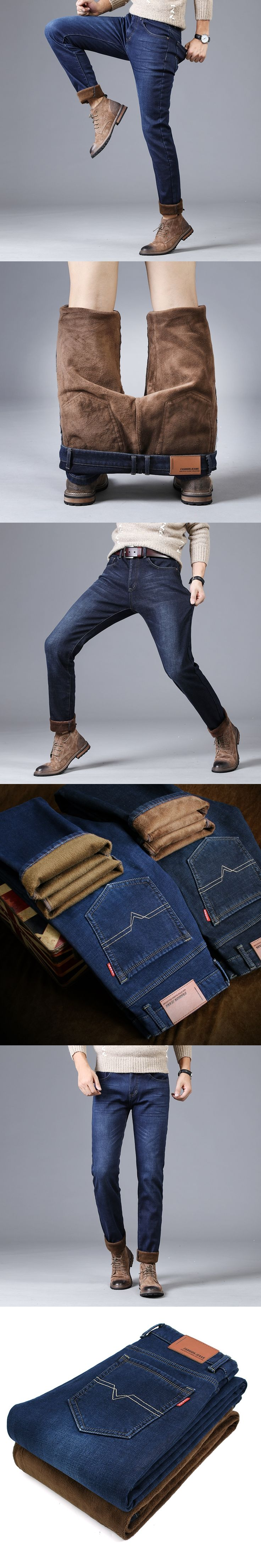 2017 Winter Mens Stretch Jeans Warm Fleece Flannel Lined Quality Denim Jean Pants Size 28-40 Brand Black Blue Jeans for Mens