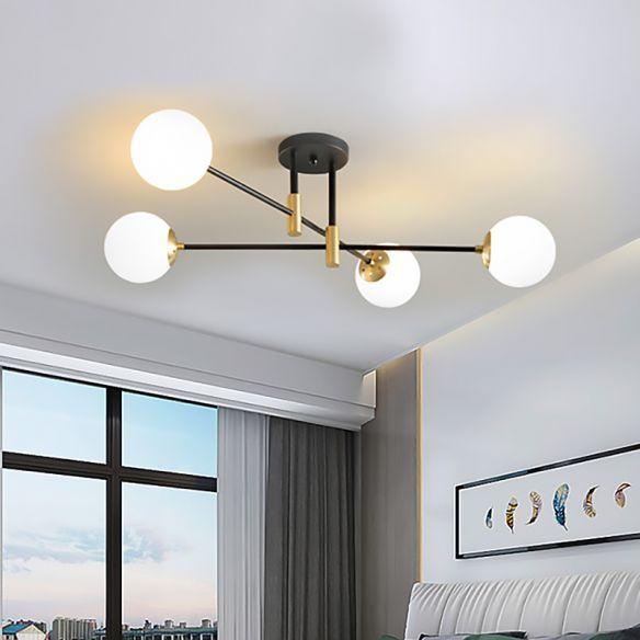 Cream Glass Sphere Semi Flush Mount Modernist 4 Lights Black Semi Flush Mount Ligh Light Fixtures Flush Mount Ceiling Lights Living Room Bedroom Light Fixtures