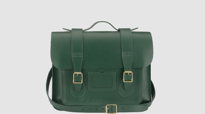 Dr Martens Leather Satchel GREEN SMOOTH - Doc Martens Boots and Shoes